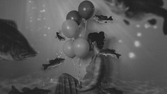 301/365 L'eau et les rêves (Katrina Y) Tags: surreal underwater fishes woman fish bass balloon selfportrait sit 2017 365project conceptual creative concept black white