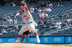 Astros pitcher Mike Fiers delivers a pitch against the Yankees. (apardavila) Tags: houstonastros mlb majorleaguebaseball mikefiers newyorkyankees yankeestadium yankees yanks baseball sports