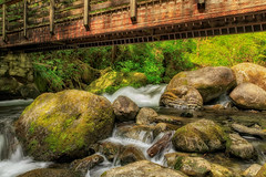 Under the Bridge (KPortin) Tags: wallaceriver bridge boulders moss shadows waterfalls water snohomishcounty explore