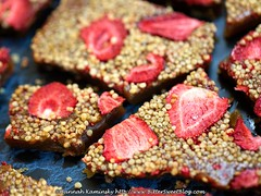 Strawberry Shortcake Toffee (Bitter-Sweet-) Tags: vegan food sweet dessert candy confections confectionary brittle toffee buttery caramel caramelized crispy cereal quinoa wholegrains strawberries fruit sugar whitechocolate drizzle shortcake homemade diy easy spring snack treat gift