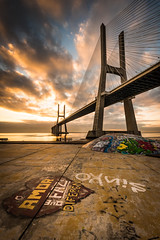 Loving Lisbon (Hugo Carvoeira) Tags: bridge lisbon lisboa city vascodagama graffiti heart love amor skatepark clouds travel