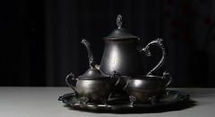 Silver teaset (judith511) Tags: odc whatthisoldthing old vintage silverplated ranleigh teaset teapot coffeepot sugarbowl milkjug tray 7daysofshooting week43 negativespace shootanythingsaturday