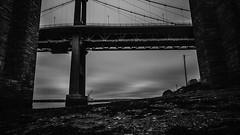 The Bridges (NikNak Allen) Tags: plymouth devon bridge bridges tamar rivertamar tamarbridge brunel brunelbridge black white grey blackandwhite longexposure video sky clouds fog mist river water weather cornwall saltash