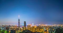Panorama of  Xiangshan (Howtonwhyton) Tags: xiangshan taiwan taipei d800 2470 2470mm 2017 panorama mountain nightview nikon nikkor night taipei101 101 awesome astonish afs sunset sun blue bluehour remarkable 象山 台北 台北101 夜景 howtonwhyton