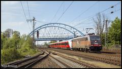 20170506 HSL 185 599 + NSB BM73 73007, Salzbergen (41786) (Koen Brouwer) Tags: salzbergen hsl bm73 73007 train trein zug station gare bahnhog bridge brug brucke 41786 nsb noorwegen germany duitsland deutschland mei 2017 sunny