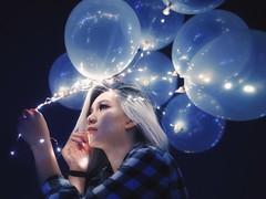 Flying memories (Selvarinset) Tags: vsco vscocam balloon balloons girl blue purple violet night outdoor dreamy light twinkle shine glow selvar