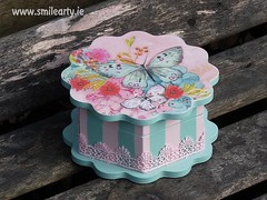 Pink-Blue Butterfly Box (Smile Arty) Tags: gift present vintage handmade decoupage crafts arts diy pink blue butterfly box lace