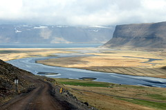 slowly downhill (kexi) Tags: iceland europe landscape view paysage water fjord ocean atlanticocean mountains blue road downhill north canon may 2016 estuary instantfave