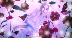 I see light (Kasumy Haiku) Tags: second life secondlife cute kawaii girl falling petals flowers flower red 3d people avatar photoshop cc edit disney tangled maitreya catwa skybox