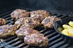 a nice night for grilling (heyjudephoto) Tags: burgers grill grilled summer outdoor cooking fries castiron meat beef