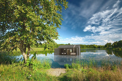 BIG BERRY House on water (Luxury of Freedom) Tags: lake river spring wood peaceful peace horizon horizontal green blue zen season scene light background backgrounds beautiful beauty forest