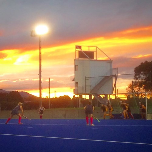 Stellar short corner defence by sunset. #hockey