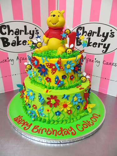 2 Tier Winnie The Pooh Themed 1st Birthday Cake With 3D Figurine Fondant Daisies