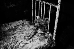 _R040800 (Dave Cavanagh Street) Tags: pripyat chernobyl ukraine bw weird ricohgr2 flash frog creepy bed travel