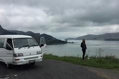 Aussicht auf den Hafen von Christchurch. Die erste Testfahrt um den Meerarm meistert unser neuer Van ohne Probleme.