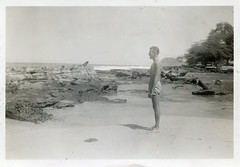Shirtless Military (jericl cat) Tags: vintage beach snapshot photo men swimsuit trunks shorts military leave respite shirtless