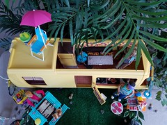 Barbie Star Traveler (moonpiedumplin) Tags: fishing ken camping kitchen cabinet bar ooak frame outdoors camp camper 1976 yellow motorhome rv traveler star scale 16 diorama fun slide party wicker furniture backyard mattel doll mansion custom diy repaint redo mcdonalds 80s pool patio cottage vintage house dream barbie