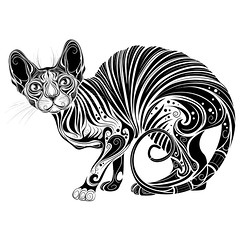 stylized cat Sphinx (kopirin) Tags: background vector tattoo design tribal hand icon vintage ornament book cat face art animal african bastet black boho carnivore coloring cover decoration decorative domestic drawing egyptian ethnic feline head henna hobby illustration image isolated kitten lace occult ornate paisley pet poster print sign sphinx spirituality symbol tshirt white wild zentangle