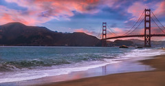at the golden gate (cherryspicks (on/off)) Tags: bridge california bakerbeach beach sand ocean pacific goldengate sunset waves reflection usa travel landscape seascape