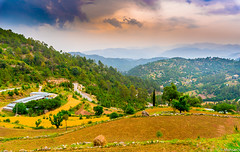 Margalla hills Islamabad Pakistan (Mohsan Raza Ali Baloch) Tags: mohsan raza ali marglla hill hills islamabad pakistan mountains clouds range fields crop crops trees wheat cultivation sky cloud hut huts