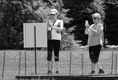 Everyone has a camera, Morton Arboretum. (EOS) (Mega-Magpie) Tags: canon eos 60d outdoors the morton arboretum lisle dupage il usa america people women lady bw black white mono monochrome person