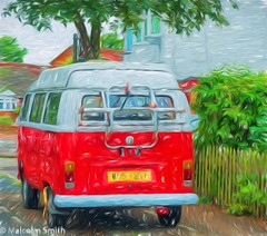 VW Camper (M C Smith) Tags: vw camper pentax k5iis fence houses road green trees red white pavement sky blue rack