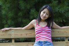 Stripes (ChrisandMei) Tags: mei pretty chinese asian woman girl feminine femme fille attractive sweet cute beauty lovely amateur wife gorgeous beautiful glamour hair 女孩 女人 mujer niña женщина smile smiling 20040807396 nobra stripes denim shorts passionphotography
