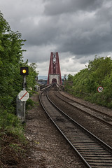 The view from Dalmeny Station (andyrousephotography) Tags: forthrailbridge bridge firthofforth southqueensferry dalmeny station platform northbound southbound tracks trains cloudy stormy dull rainy andyrouse canon eos 5d mkiii ef24105mmf4l