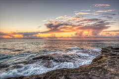 Anticipation (JustAddVignette) Tags: australia beforedawn clouds fiery landscapes newsouthwales northernbeaches ocean reflections rocks seascape seawater sky southcurlcurl sydney water waves