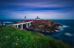 Sunday Morning (TubbMeiko) Tags: sea water travel blue clouds lighthouse rocks green seascape spain longexposure galicia olympus ribadeo islapancha illapancha mzuiko714mm