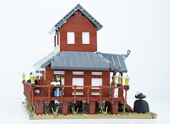 Tabashii's Tea House - Left (Cuahchic) Tags: lego foitsop japan cha teahouse skudae landsofroawia loreos culture moc build wooden timber tree minifig mongols