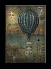 Moving Day (jimlaskowicz) Tags: house balloon urban illustration vintage artistic victorian painterly textures impressionistic sun surreal