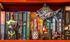 On My Bookshelf (derek.dpr) Tags: books book stilllife fish gaultier ceramic olympus omd barbaranadel gondolier santa bookshelf on1pics on1 em10
