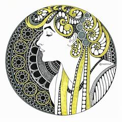 "Alfons Mucha ""Laurel"" (Mashmuh) Tags: зентангл zentangle mandala мандала"