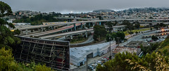 billboard exchange (pbo31) Tags: sanfrancisco city california lightstream traffic roadway motion 101 280 interchange highway overpass ramp freeway panorama large stitched panoramic bernalheights portola over fog overcast green billboard transition exchange