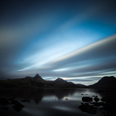 Stac Pollaidh a Loch and some whizzy clouds (amcgdesigns) Tags: andrewmcgavin lochbadaghaill assynt canon1022mm 10stopfilter hitechprond eos7d scotland scottishweather landscape loch reflection longexposure lowlight