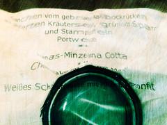 Menucard - Speisekarte (macplatti) Tags: abstract menu menucard green speisekarte pannacotta maibock scratch zerkratzt