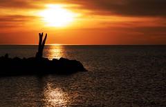 Driftwood (leapinlily) Tags: sunset lake driftwood rocks silhouette reflection orange vibrant