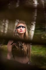 Wild Woman (Tomáš Mašek photographer) Tags: wild woman female girl archeo indian historic fantasy cosplay costume lether vilage forest sumava prasily makeup magic natur photoshoot nikon sigma d810 tomas masek susice wood rock feazher fear