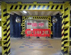 Framed Fence! - For Fence Friday [Explored!] (RiverCrouchWalker) Tags: fence tunnel londonunderground hazardstripes signs london underground station blackfriars framedfence fencefriday happyfencefriday