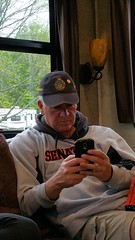 Paul texting (JD and Beastlet) Tags: camper travel trailer rv 2012 rockwood 2701ss slide 27 foot recreational vehicle camping camp campering family vacation together bonding nature