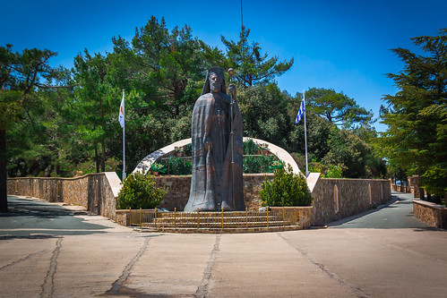 Statue of Archbishop Makarios, Throni, Troodos Mountain, South Cyprus