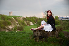 At the end of the rainbow (achudziak) Tags: rainbow green grass spring portrait tree trunk stump kraków cracow canon eos 6d ef 28 105 35 45 usm ii outdoor