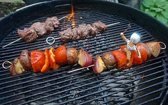The Shish Kabob Rider (ricko) Tags: grill webergrill shishkabobs food meat indian toy skewers vegetables fire 113365 2017