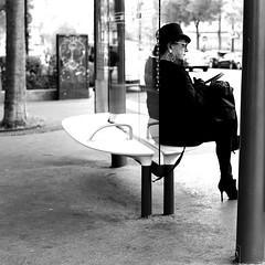 Madam waits for the bus (pascalcolin1) Tags: paris13 femme woman bus madame chapeau hat photoderue streetview urbanarte noiretblanc blackandwhite photopascalcolin