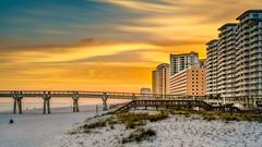 Condos At Sunset (Stuart Schaefer Photography) Tags: sand building sunset condos sonya7rii outdoor evening dusk travel cloudscape outdoors navarrebeach sky seascape florida landscape pier clouds