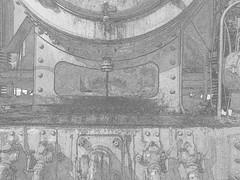 131.060 - Kunst 2 (Painting - Malen - Zeichnen) Tags: 131060 dampflok rumänischedampflok kunst künstlerischeveränderung bildbearbeitung farben wärmebild bleistift neon sepia 3fachhdr hdr