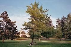 (Benedetta Falugi) Tags: film lubiana filmisnotdead filmphotography fujisuperia ricoh green trees tree park girl reading relax blue sky air bicycle book beliveinfilm benedetafalugi analog analogue analogic 35mm istillshootfilm ishootfilm sunday