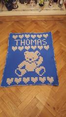 Teddy bear blanket for Thomas (dochol) Tags: teddy teddybear chart graph alphabet personalised name baby bebe cute craft handmade homemade crochet croche haakwerk hakeln haakenwert manta babyblanket blanket afghan hooks wool yarn