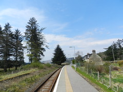 Achanalt Railway Station, Highlands of Scotland, May 2017 (allanmaciver) Tags: achanalt railway station highlands scotland scotrail trees platfrom sweep track street light lonely remote request stop fence allanmaciver